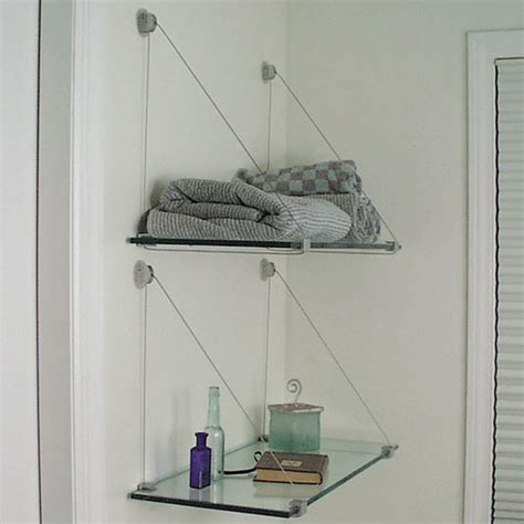 cable brackets and glass shelf kit 8 x 24 in wall