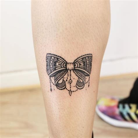 bow tattoos on legs lace bow on back leg
