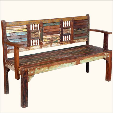 indoor wooden bench 62 quot reclaimed wood rustic hand carved arms bench indoor