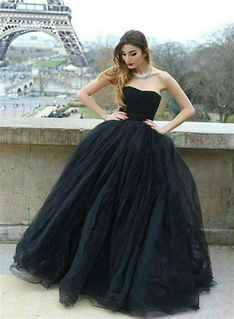 noble ball gown strapless black tulle long promevening
