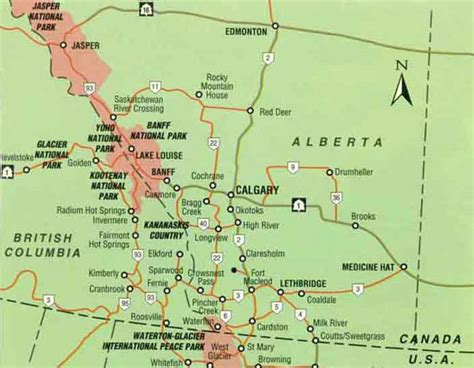 the rockies canada map calgary and the canadian rockies
