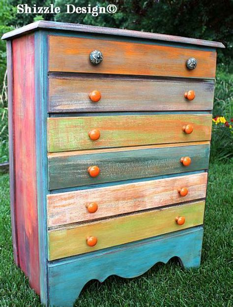 shizzle design whimsical patchwork painted dresser