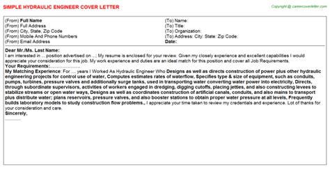 Hydraulic Design Engineer Cover Letter by Hydraulic Engineer Cover Letter