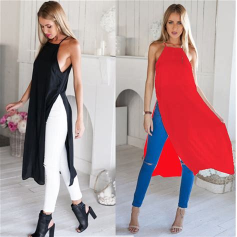 Two Side Color Shirt by Two Side Split Shirt High Slit Maxi Dress Fashion