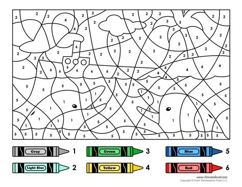 Free Ship Colour By Number Coloring Pages Colouring Worksheets Printable