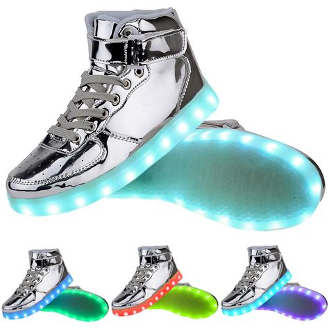 led light up shoes in stores men high top usb charging led light up shoes flashing