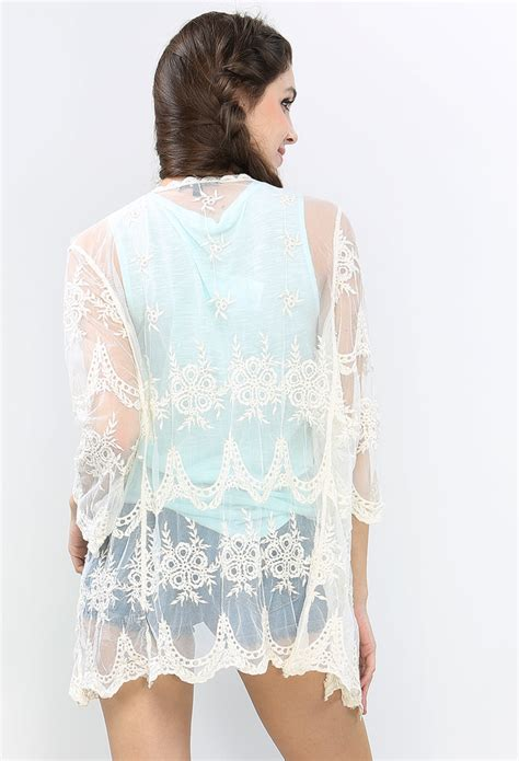 Embroidery Cardigan embroidery lace open cardigan shop sale at papaya clothing