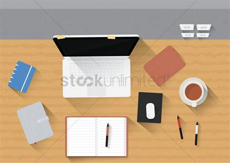 Office Desk Toys Gadgets Office Desk With Laptop Gadgets And Stationery Vector