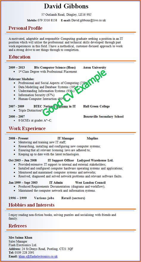 the cv template 5 cv exles for invoice template