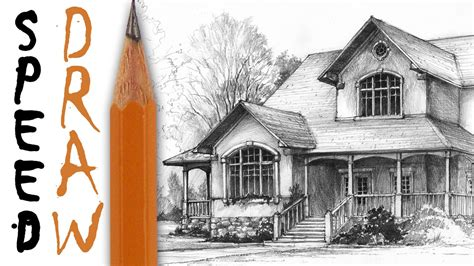 Drawing House by How To Draw A House Architecture Speed Drawing