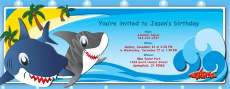 shark birthday card template shark birthday invitations template best template collection