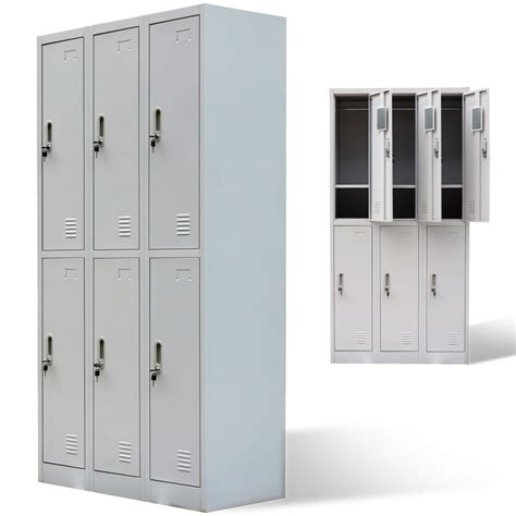Metal Locker Cabinet 6 Doors Gray Vidaxl Com Metal Frame Cabinet Doors