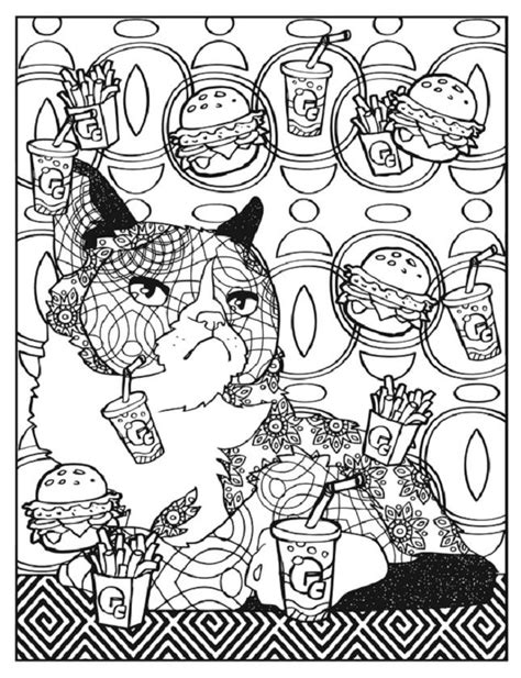 creative haven grumpy cat hates coloring  fast food