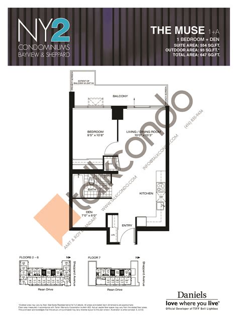 1 rean drive floor plans ny2 condos the muse 554 sq ft 1 5 bedrooms
