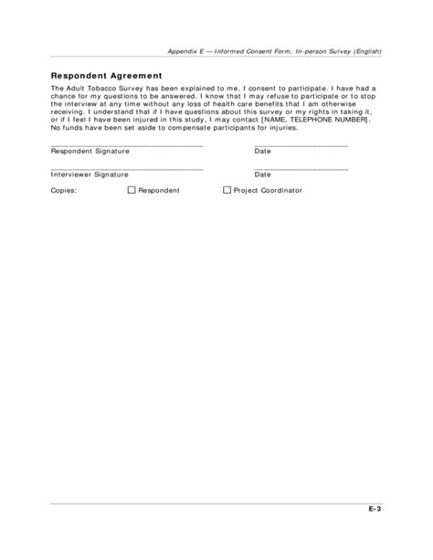 questionnaire consent form template survey infomed consent form free