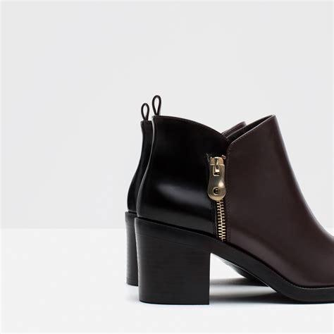 zara boot zara combined ankle boots in purple burgundy lyst