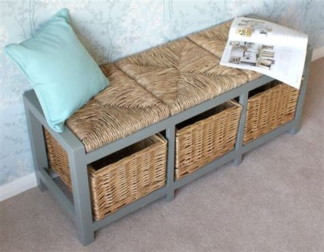 blue storage bench with baskets 3 seater storage bench with blue grey frame woven seat