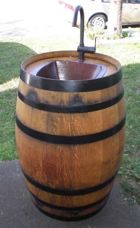 backyard sink how to make wine barrel outdoor sink diy crafts