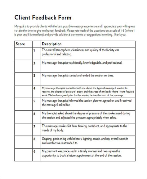 sle client feedback form in word 8 exles in word