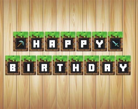 printable happy birthday minecraft banner phorest studio 187 minecraft banner birthday party printable
