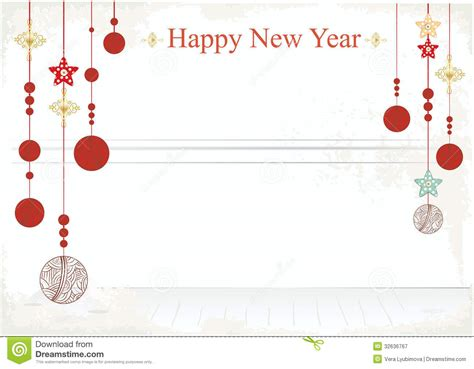 happy new year card template new year decorations on a card design stock vector image
