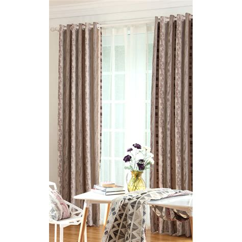 coffee curtains coffee striped jacquard insulated poly cotton blend