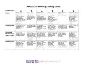 persuasive writing scoring guide