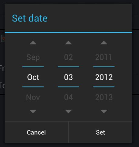 Android date picker style magazine