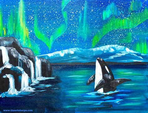 watercolor whale tutorial easy first time painter friendly aurora borealis and stars
