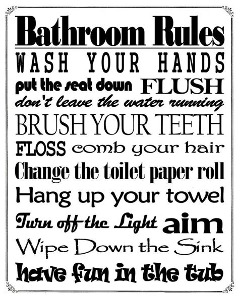 printable bathroom rules bathroom rules sign free printable friday bathroom