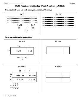 dailey method hill 4 nbt 5 multiplying whole numbers 4th grade common