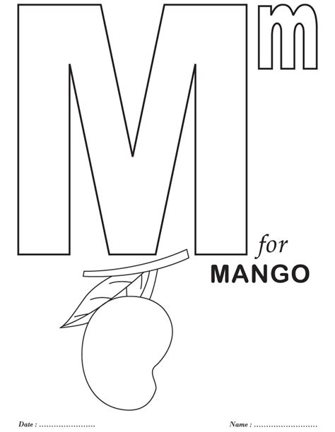 coloring book page letter m free coloring pages of alphabet m