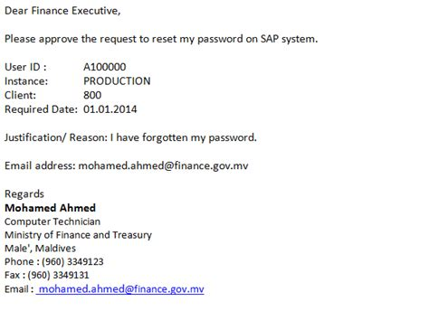 email format requesting information ministry of finance and treasury