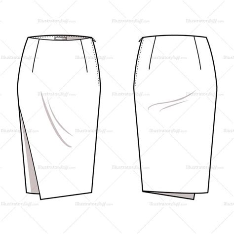 Women S Asymmetrical Pencil Skirt Fashion Flat Template Illustrator Stuff Fashion Flats Template