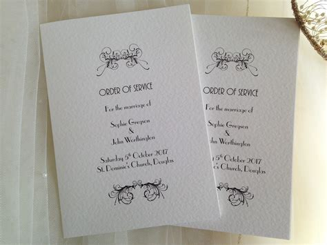 marble wedding order of service booklet from 1 20 each