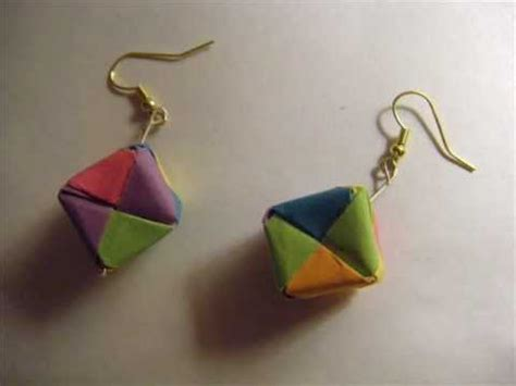 How To Make Earring With Paper - how to make origami cube earrings