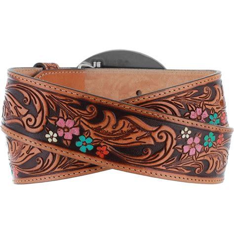 justin vine embossed floral leather belt