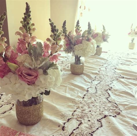 bridal shower table decorations with jars diy glitter jar vase jar bridal shower centerpiece