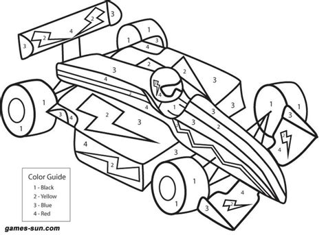coloring page for school age race car color by numbers school age crafts and projects