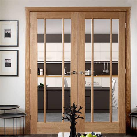 Oak Glass Doors Oak Worcester Door Pair In Standard Sizes Clear Glass