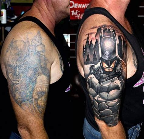 new tattoo very faded strange tattoos batman on shoulder is faded new redo