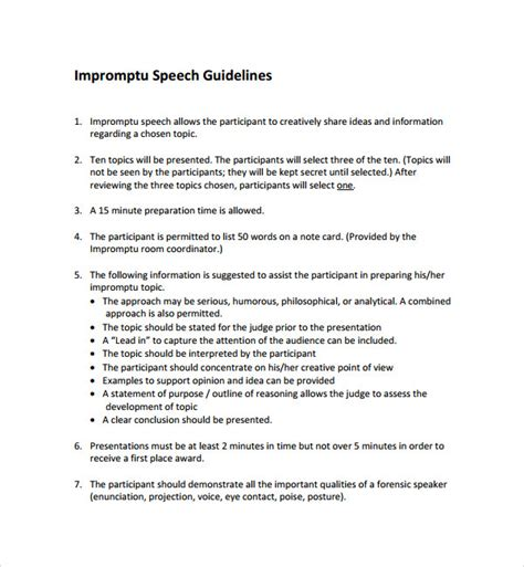 award speech template sle impromptu speech template 7 free documents in