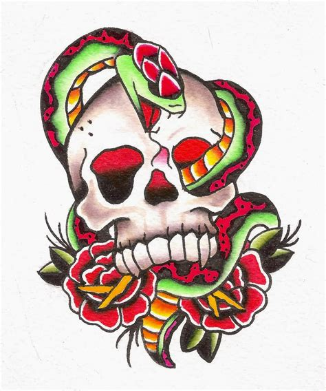 skull rose snake tattoo 30 snake skull tattoos design