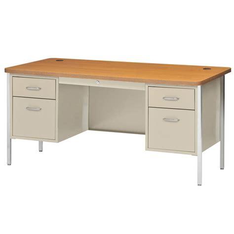 Sandusky Lee Double Pedestal Rounded Corner Steel Desk 60 Rounded Corner Computer Desk