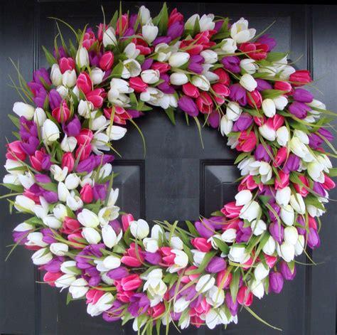 Spring Wreath | 24 inch tulip spring wreath large outdoor spring wreath