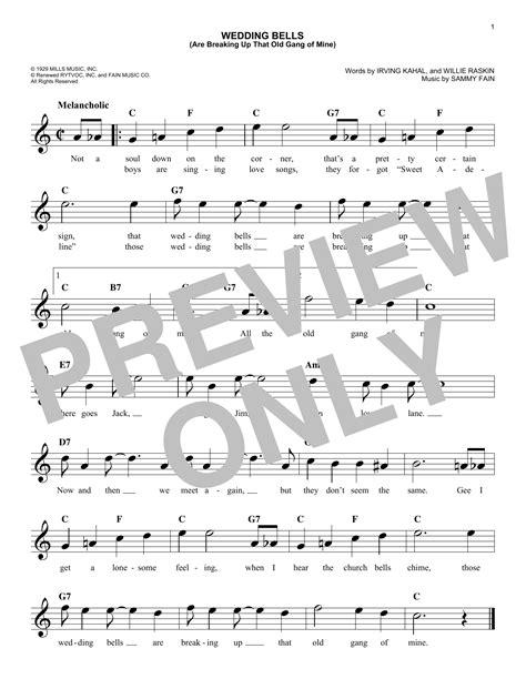 Wedding Bells Breaking Up Mine Lyrics by Sheet Digital Files To Print Licensed Irving Kahal