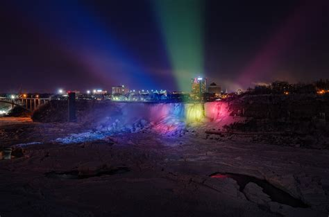 niagara falls light show a frozen niagara falls light show looks like a magical