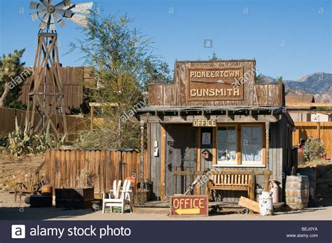the old western movie set of pioneertown california now used as a stock photo royalty free