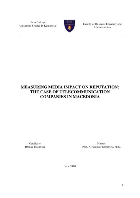 master thesis dissertation measuring media impact on corporate reputation master thesis