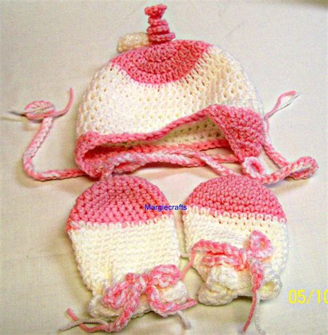 Crochet Handmade - baby clothing hat mittens crochet handmade 3 6